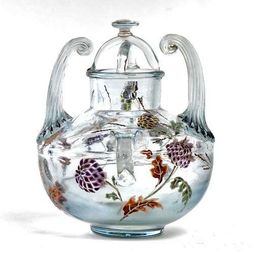 "Glass & Crystal  - 1880 Emile Gallé - Vase Perfume Burner ""Flight of a Lepidoptera among Gaill"