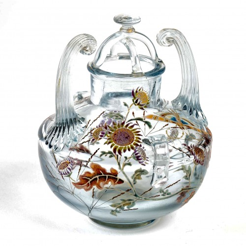 "20th century - 1880 Emile Gallé - Vase Perfume Burner ""Flight of a Lepidoptera among Gaill"