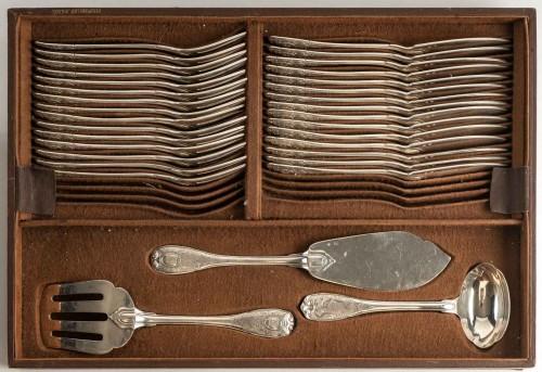 Puiforcat Paris Elysée Cutlery Set - 258 Pieces + 35 Servin - Antique Silver Style