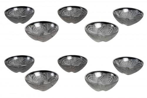 1924 René Lalique - Set Of 10 Coquilles Hand Bowl