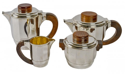 1925 Puiforcat - Tea And Coffee Set In Sterling Silver And Rosewood