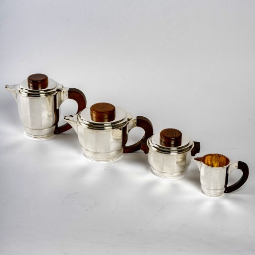 1925 Puiforcat - Tea And Coffee Set In Sterling Silver And Rosewood - Antique Silver Style Art Déco