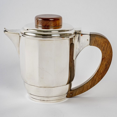 Antique Silver  - 1925 Puiforcat - Tea And Coffee Set In Sterling Silver And Rosewood