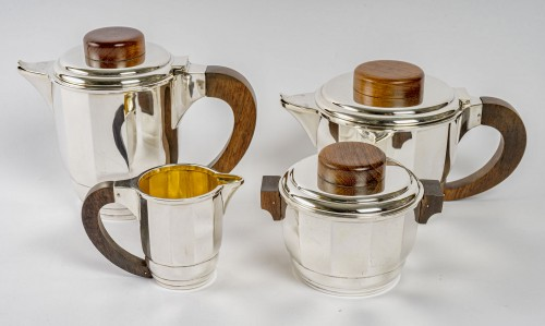 1925 Puiforcat - Tea And Coffee Set In Sterling Silver And Rosewood -