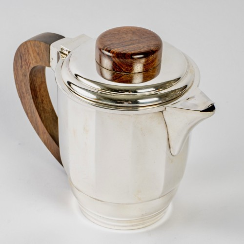 20th century - 1925 Puiforcat - Tea And Coffee Set In Sterling Silver And Rosewood