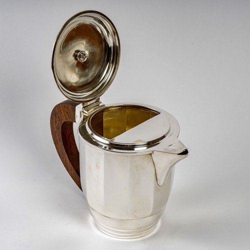 1925 Puiforcat - Tea And Coffee Set In Sterling Silver And Rosewood - Art Déco