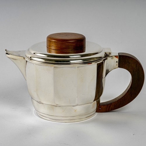 Antiquités - 1925 Puiforcat - Tea And Coffee Set In Sterling Silver And Rosewood