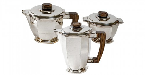 1930 Ernest Prost - Tea And Coffee Service In Sterling Silver And Macassar