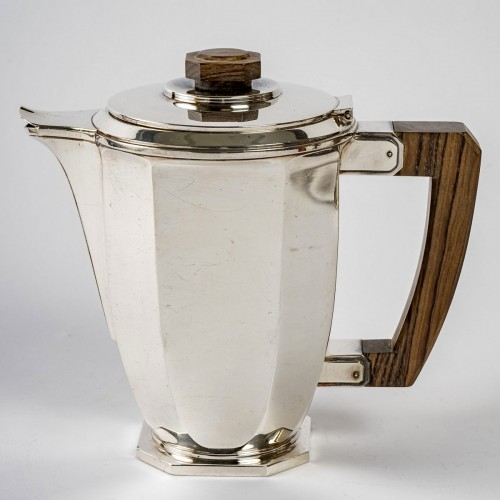 1930 Ernest Prost - Tea And Coffee Service In Sterling Silver And Macassar - Antique Silver Style Art Déco