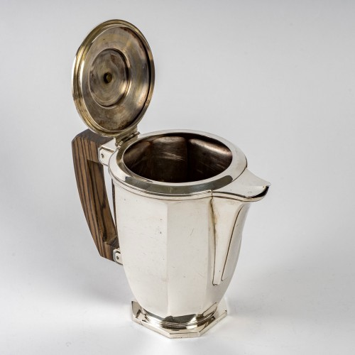 1930 Ernest Prost - Tea And Coffee Service In Sterling Silver And Macassar -