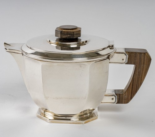 20th century - 1930 Ernest Prost - Tea And Coffee Service In Sterling Silver And Macassar