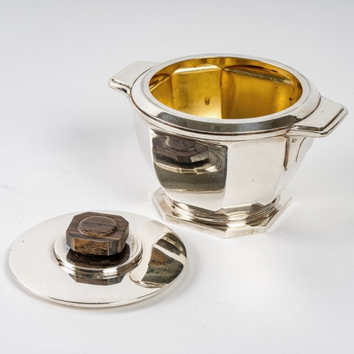Antiquités - 1930 Ernest Prost - Tea And Coffee Service In Sterling Silver And Macassar