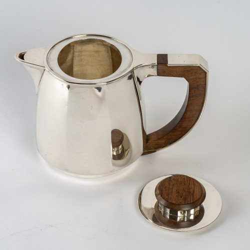 Antique Silver  - 1920 Jean E. Puiforcat - Tea And Coffee Set In Sterling Silver And Rosewood