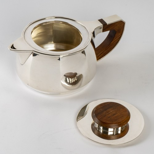 1920 Jean E. Puiforcat - Tea And Coffee Set In Sterling Silver And Rosewood -