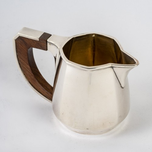 20th century - 1920 Jean E. Puiforcat - Tea And Coffee Set In Sterling Silver And Rosewood
