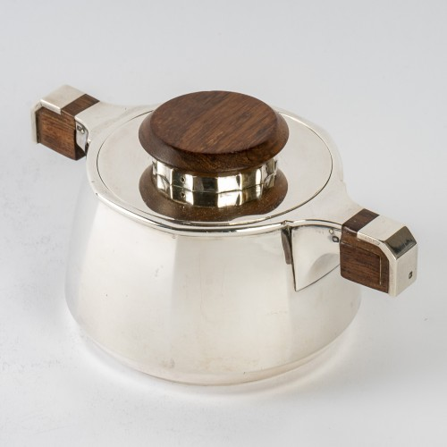 Antiquités - 1920 Jean E. Puiforcat - Tea And Coffee Set In Sterling Silver And Rosewood