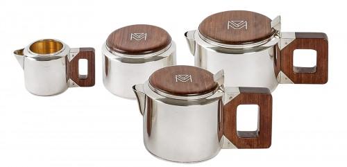 1930 Jean E. Puiforcat - Tea & Coffee Egoiste Set Sterling Silver Rosewood