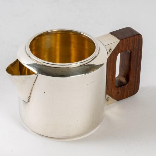 1930 Jean E. Puiforcat - Tea & Coffee Egoiste Set Sterling Silver Rosewood - Antique Silver Style Art Déco