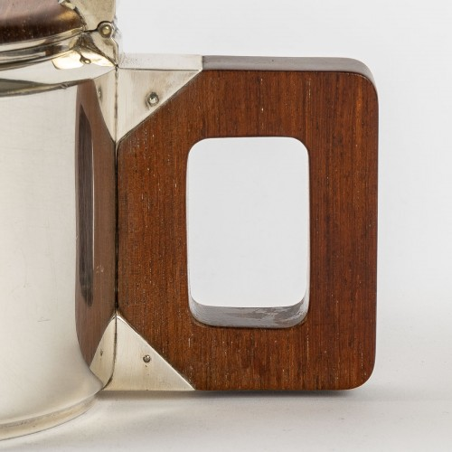 Antique Silver  - 1930 Jean E. Puiforcat - Tea & Coffee Egoiste Set Sterling Silver Rosewood