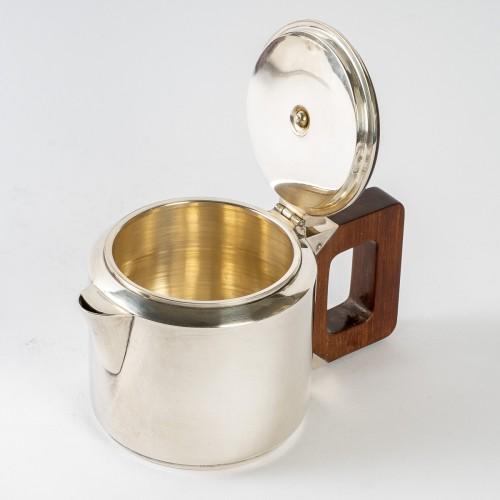 1930 Jean E. Puiforcat - Tea & Coffee Egoiste Set Sterling Silver Rosewood -