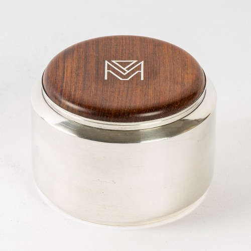 20th century - 1930 Jean E. Puiforcat - Tea & Coffee Egoiste Set Sterling Silver Rosewood