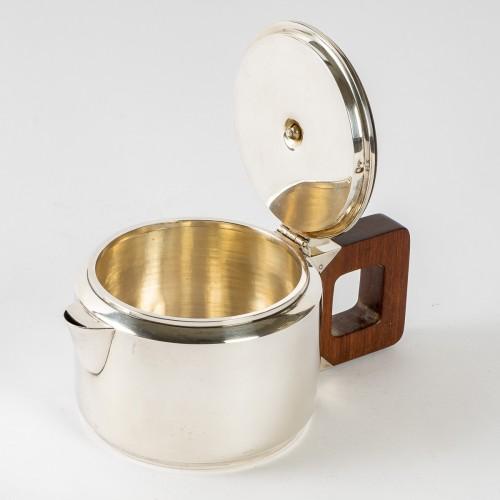 Art Déco - 1930 Jean E. Puiforcat - Tea & Coffee Egoiste Set Sterling Silver Rosewood