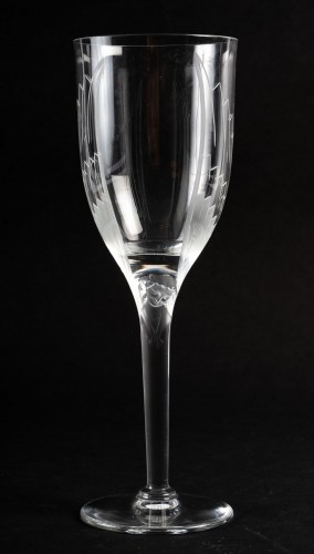 1950 Marc Lalique 10 Champagne Flutes Glasses Ange De Reims Crystal - Glass & Crystal Style 50