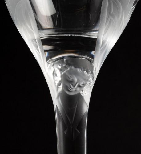 Glass & Crystal  - 1950 Marc Lalique 10 Champagne Flutes Glasses Ange De Reims Crystal