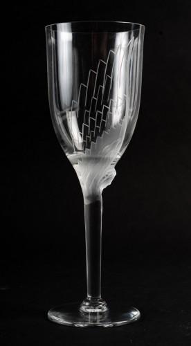 1950 Marc Lalique 10 Champagne Flutes Glasses Ange De Reims Crystal -