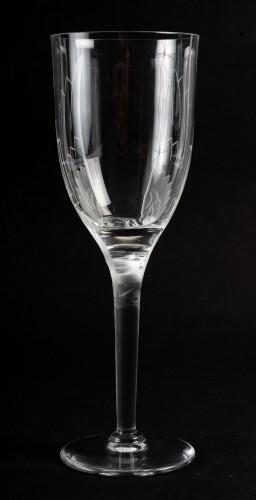 20th century - 1950 Marc Lalique 10 Champagne Flutes Glasses Ange De Reims Crystal