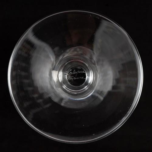 1950 Marc Lalique 10 Champagne Flutes Glasses Ange De Reims Crystal - 50