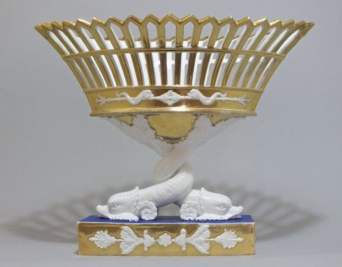 Paris - A pair of baskets dolphins - Empire period - Porcelain & Faience Style Empire