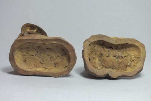 "Antiquités - Pair of terracotta statuettes ""Children Natural History» by Boizot"