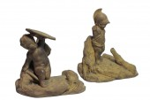 "Pair of terracotta statuettes ""Children Natural History» by Boizot"
