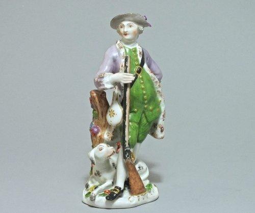 Porcelain & Faience  - Meissen Statuette of a hunter eighteenth century 1755 to 1760