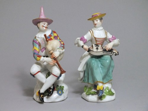 Meissen - Harlequin and Columbine - j.j Kandler - 18th century - Porcelain & Faience Style Louis XV