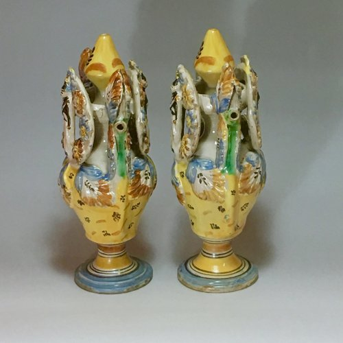 Pair of vases - Ariano Irpino (Italy) circa 1800 - Porcelain & Faience Style Directoire