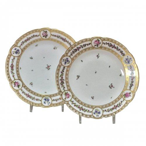 Paris - Clignancourt - Pair of plates - eighteenth century