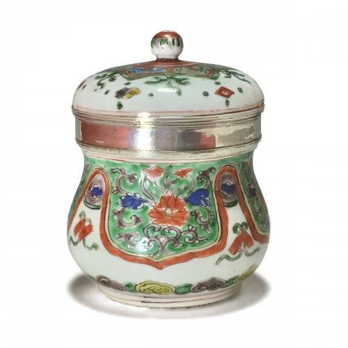 China - covered pot wucai decoration - silver mounted - kangxi period (1772