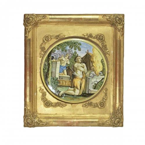 "CASTELLI, Applique Tondo, ""The Sacrifice of Abraham"" - Early 18th century"