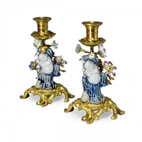 Pair of hand candleholders - 19th - 18th century