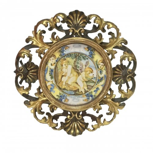 "Castelli - Plate (Tagliere) ""Venus and love"" - eighteenth century"