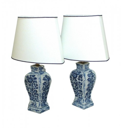 Pair of China vases mounted as lamps - Period Kangxi(1662-1722)