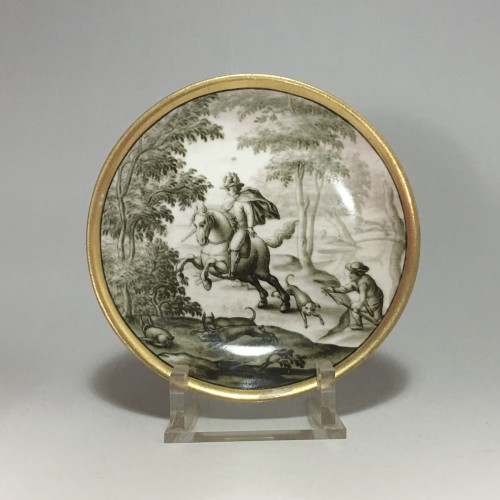 Cup and saucer with hausmaler decor in grisaille - Meissen 18thcentury - Porcelain & Faience Style Louis XV