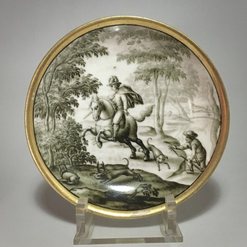 Porcelain & Faience  - Cup and saucer with hausmaler decor in grisaille - Meissen 18thcentury