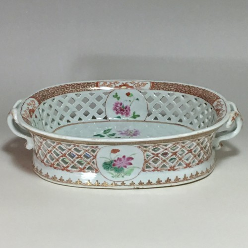 Porcelain & Faience  - openwork baskets family rose - India company 18th century