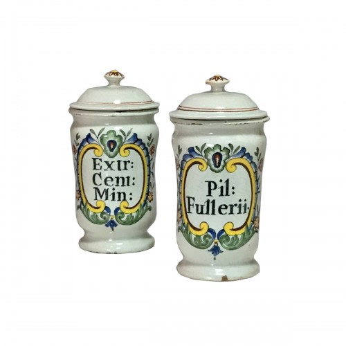 Pair of small pharmacy jars - Rouen Eighteenth century