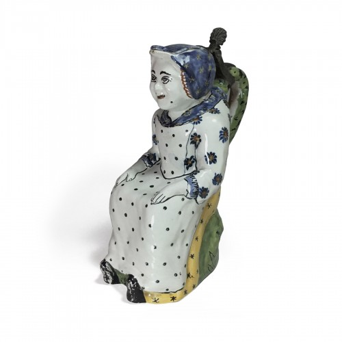 """Pitcher says """"Jacqueline"""" earthenware of Lille - eighteenth century"""