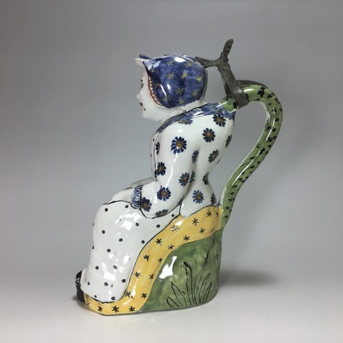 "Porcelain & Faience  - Pitcher says ""Jacqueline"" earthenware of Lille - eighteenth century"
