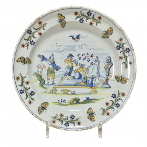 Marseille Leroy - Rare plate with Chinese scène - Eighteenth century